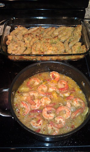 Oven fried avocado and shrimp scampi
