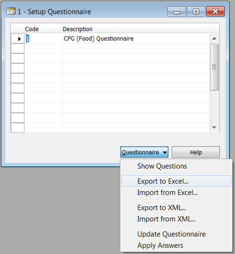 How to create Setup Questionnaire -  Questionnaire - Export To Excel