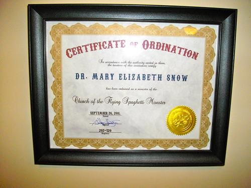 My ordination certificate, Church of the Flying Spaghetti Monster