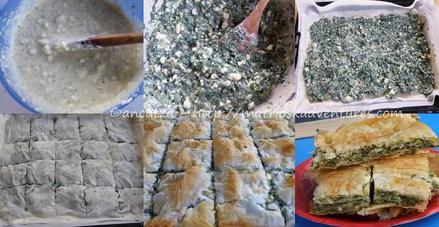 immagini preparazione spanakopita torta greca con pasta fillo spinaci feta