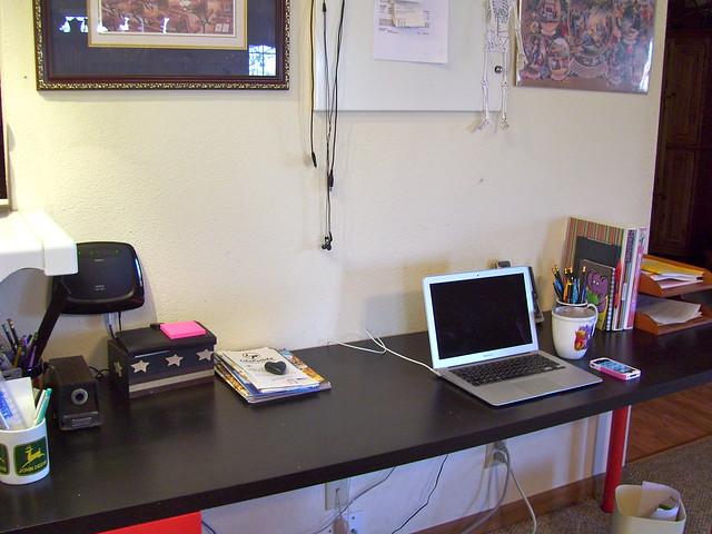 school room desk cleaned up