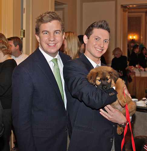 Jason Mandel of Washington Fine Properties and Eric Teeters and their dog Watson