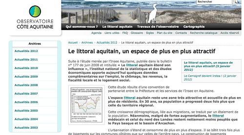 Une nouvelle étude proposée par l'Observatoire Côte Aquitaine
