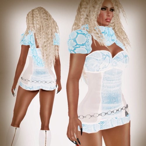 A&A Fashion Snake Dress WhiteBlue