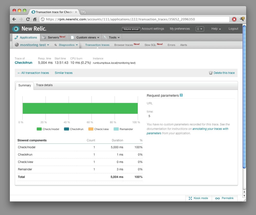 New Relic transaction deep dive screenshot