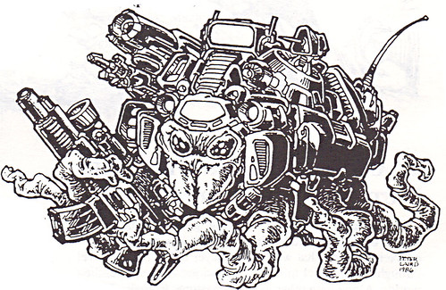 "'THE CATALOG OF PALLADIUM BOOKS 1988-89 Catalog' vii / ""Mutant Mercenary"" art by Laird isolated  (( 1988 ))"