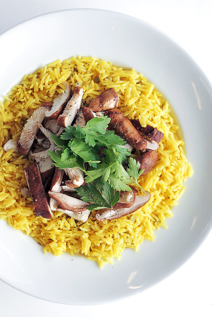 Shiitake Mushrooms, Parsley and Saffron Rice