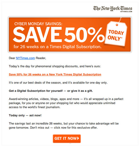 New York Times email offer