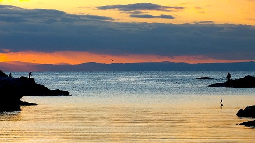 Pêche durant le coucher de soleil - Jogashima (Japon)