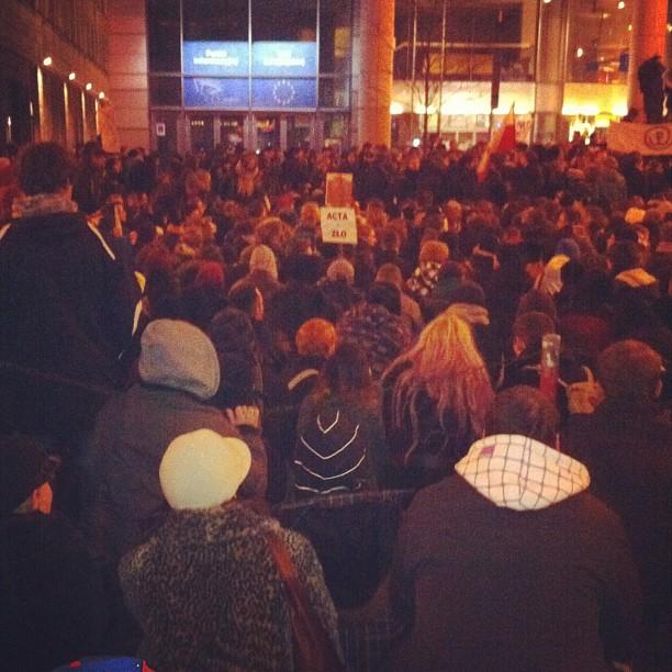 Sitting protest against #acta