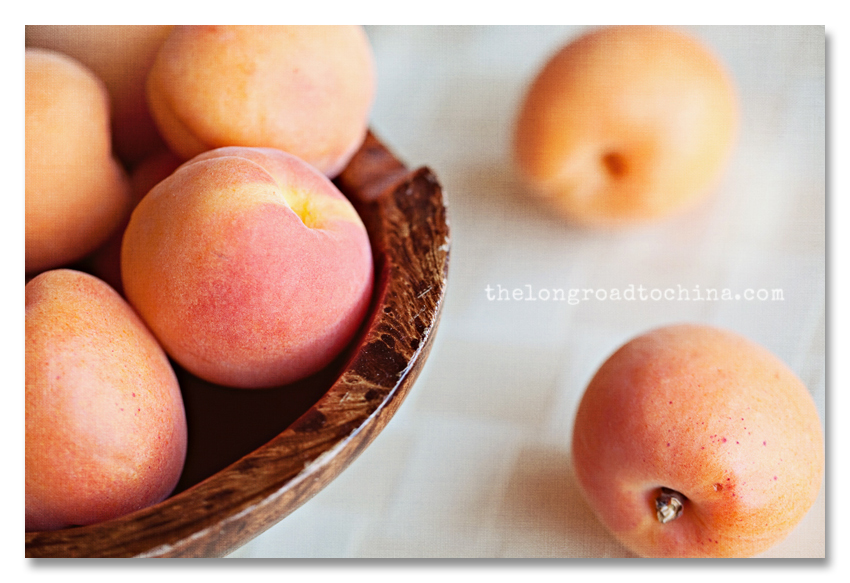 Apricots in a bowl Vintage Linen BLOG