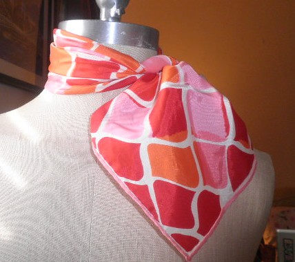 Vintage Vera Scarf Abstract Design, Pink Red and White 1950s by Brick City Vintage
