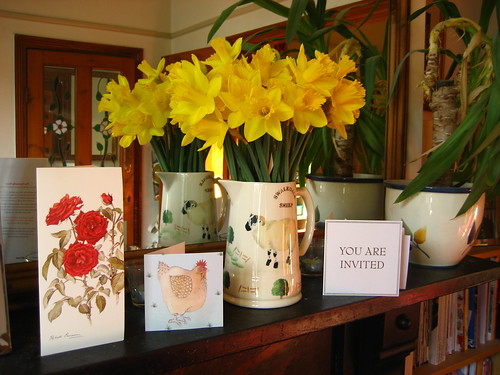 Daffs and cards on the mantelpiece