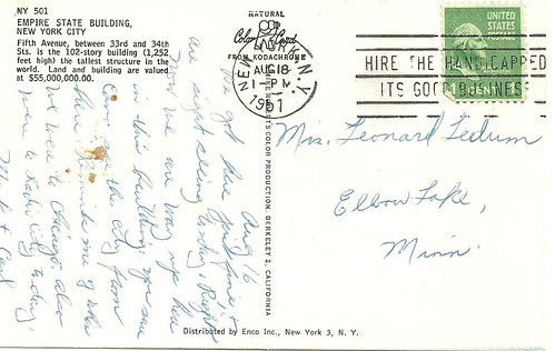 NYC Postcard - Empire State Building (Reverse)