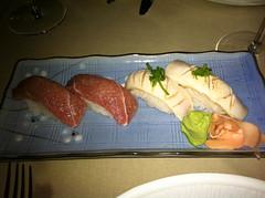 Nigiri de pez mantequilla y atun