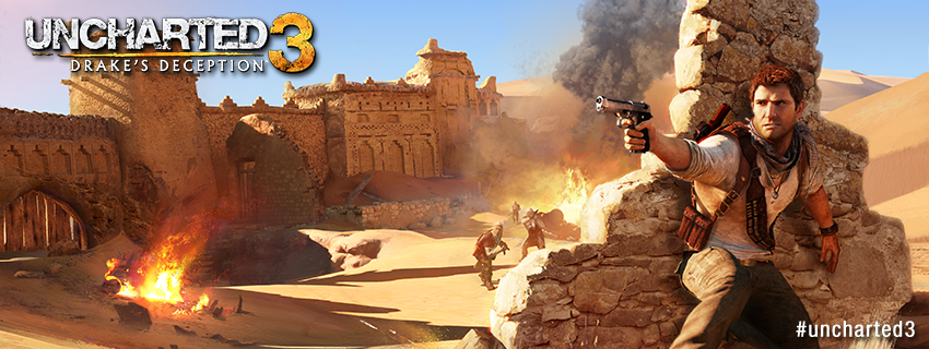 Facebook timeline cover image - Uncharted 3 Drake in the desert