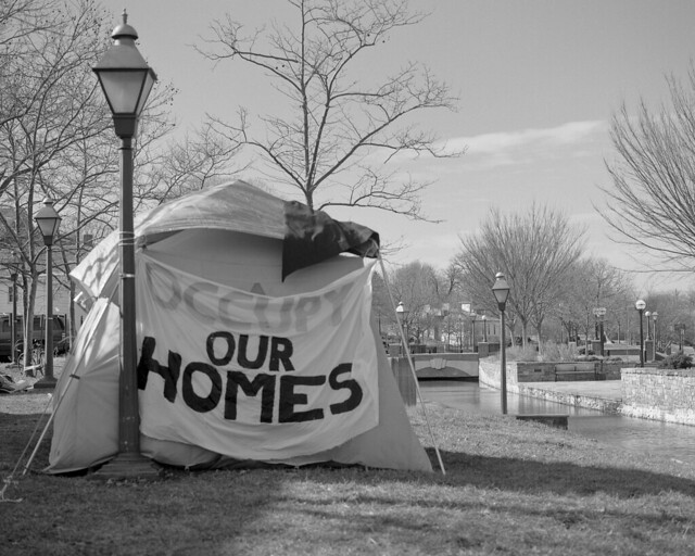 One of many tents delivering messages.