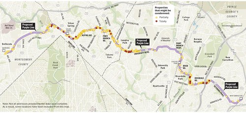 Purple Line light rail map, property takings