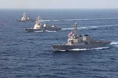 Ships steam in formation during a previous Multi-Sail exercise in the Pacific. (U.S. Navy/OS2 Chin Ng)