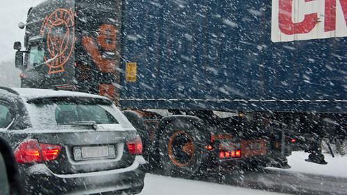 Belgium, snow and traffic jam