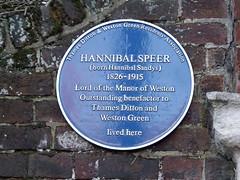 Photo of Hannibal Speer blue plaque