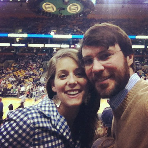 Enjoying a date with my husband at the Celtic/Grizzlies game