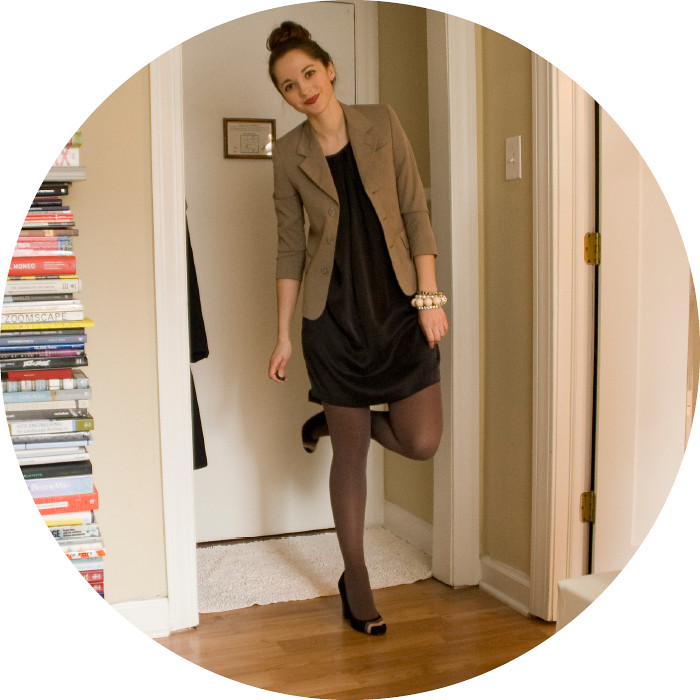 dash dot dotty, ootd, outfit blog, what to wear to work, creative young professional, business casual style, neutrals, thrifted blazer, black silk dress, missoni heels, black and brown, mixed neutrals
