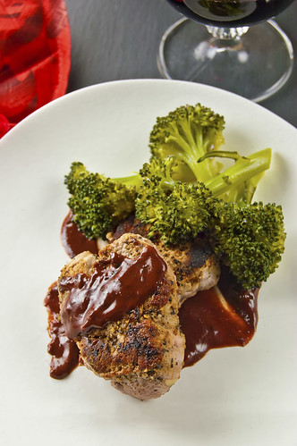 Peppered pork fillet with Peanut butter & pomegranate sauce