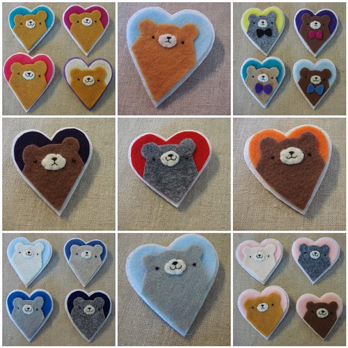 pudgy bear heart brooches.
