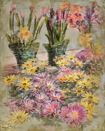 Image of Spring Flowers painted in Photoshop