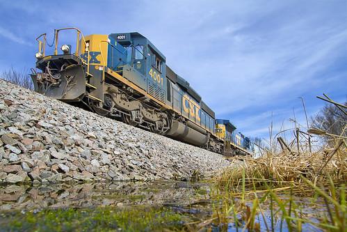railroad wisconsin cn train spring swamp colgate freight springtime canadiannational csx freighttrain sd403 cn491 colgatewi csxsd403 csx4001 csxsd4034001