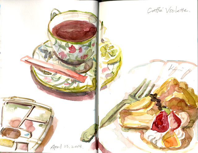 cake, tea and a palette