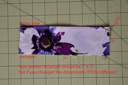 "Step 1: Fold Pocket Fabric in Half, Matching the Longer Ends; Step 2: Sew a Scant 1/8"" Seam Along the Folded Edge"