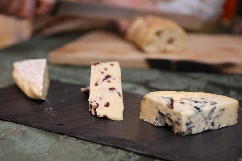 Cheese Plate with Fourme D'Ambert, Cranberry Wensleydale, and Brie Rouzaire Nangis