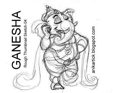 Ganesha thumbnail sketches artist anikartick04