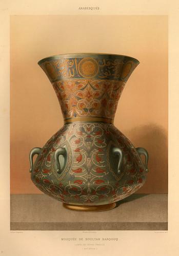 015-Lampara de vidrio esmaltado siglo XIV-L'art arabe d'apres les monuments du Kaire…Vol 3-1877- Achille Prisse d'Avennes y otros.