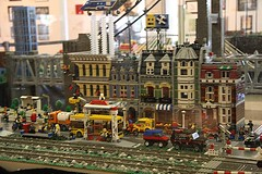 LEGO Victorian houses and helicoper near the train tracks. Miniature Electric Train Exhibits at the Nixon Presidential Library