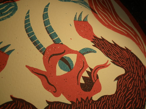 St Dunstan Hoofs the Devil - Two colour Screenprint (Detail)
