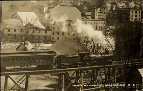 railroad trestle plant history century train river post newhampshire railway nh card bm mills hillsboro 19th physical hillsborough nineteenth contoocook