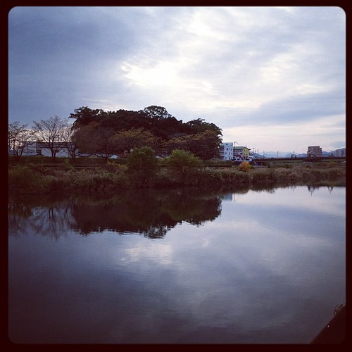 鏡みたいな鏡川。