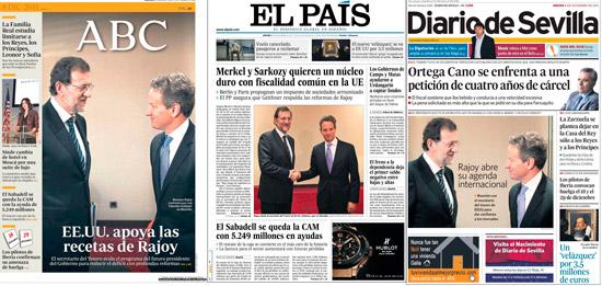 Portada de varios periódicos con la fotografía facilitada por el PP