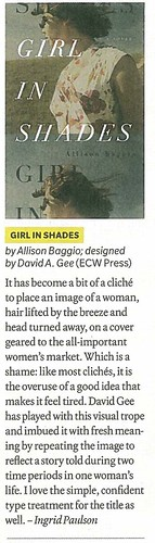 GIRL IN SHADES's best cover citation from Quill & Quire