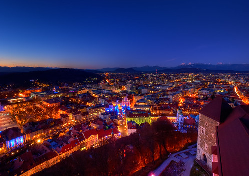 christmas city blue alps tower castle view dusk capital center slovenia hour vista ljubljana outlook slovenija northern grad alpe decorated stolp kamnik ljubljanski savinja kamniškosavinjske razgledni