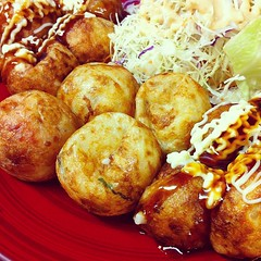 meal, vegetable, fried food, produce, food, dish, cuisine, fast food, takoyaki,