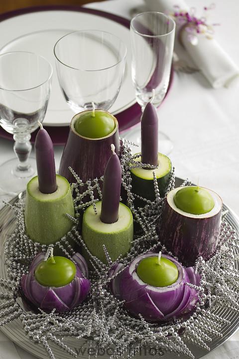 Centro de mesa con verduras webos fritos - Centros de navidad originales ...