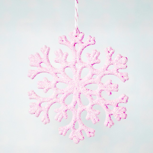 Painted and glittered snowflakes