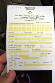 Maldives arrival card