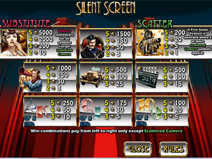 free Silent Screen slot payout