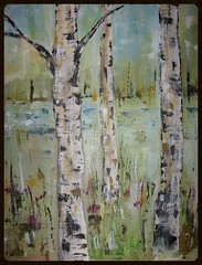 art, birch, wood, tree, painting, trunk, watercolor paint, modern art, acrylic paint,