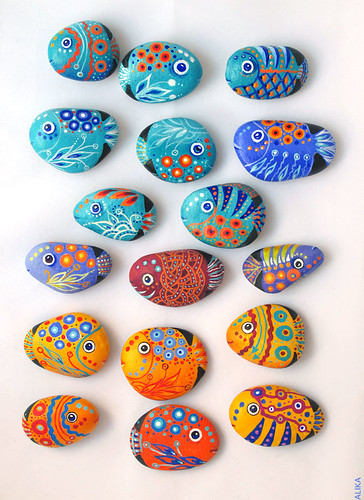 Painted rocks (stones) fish magnets by Alika-Rikki
